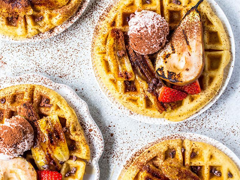 Waffles de proteína de postre